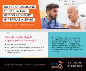 Do you or someone you know have Benign Prostatic Hyperplasia (BPA)? Volunteer now for a no cost BPH clinical trial.